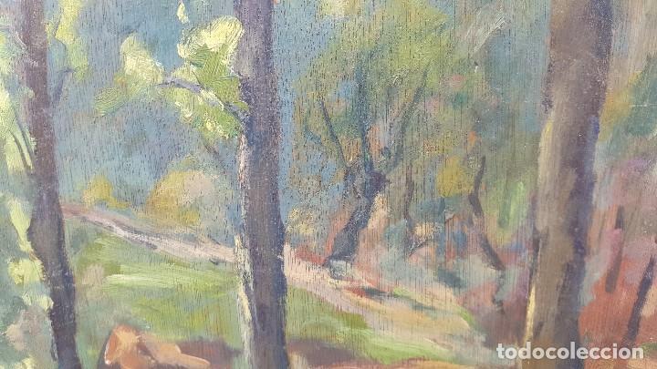 Arte: Oleo sobre tabla.ramon trulls pons.1950.sello sala gaspar.buen momento del pintor. - Foto 4 - 102379431