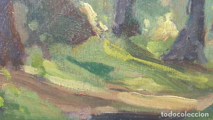 Arte: Oleo sobre tabla.ramon trulls pons.1950.sello sala gaspar.buen momento del pintor. - Foto 5 - 102379431