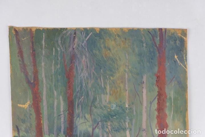 Arte: Óleo sobre lienzo Paisaje árboles segunda mitad siglo XX - Foto 3 - 102419111