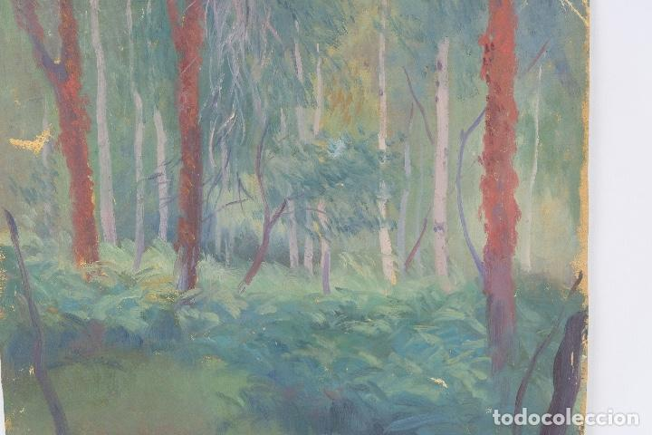 Arte: Óleo sobre lienzo Paisaje árboles segunda mitad siglo XX - Foto 4 - 102419111