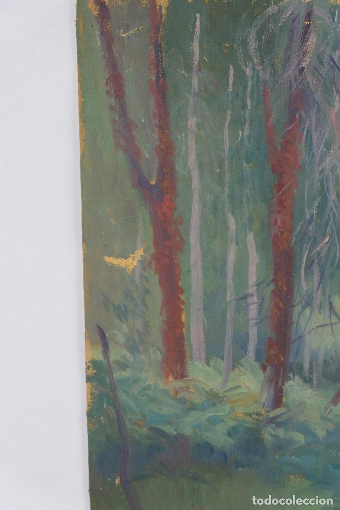 Arte: Óleo sobre lienzo Paisaje árboles segunda mitad siglo XX - Foto 6 - 102419111