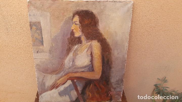 OLEO SOBRE TELA FIRMADO J. MORAL.RETRATO. (Arte - Pintura - Pintura al Óleo Contemporánea )