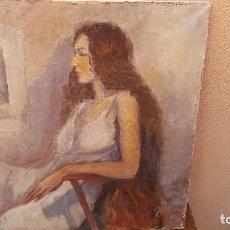 Arte: OLEO SOBRE TELA FIRMADO J. MORAL.RETRATO.. Lote 102468043