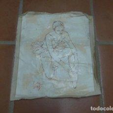 Arte: ANTIGUA TELA DE PINTURA OLEO A ESTUDIAR, FIRMADO. SUCIO Y ARRUGADO.. Lote 102494295