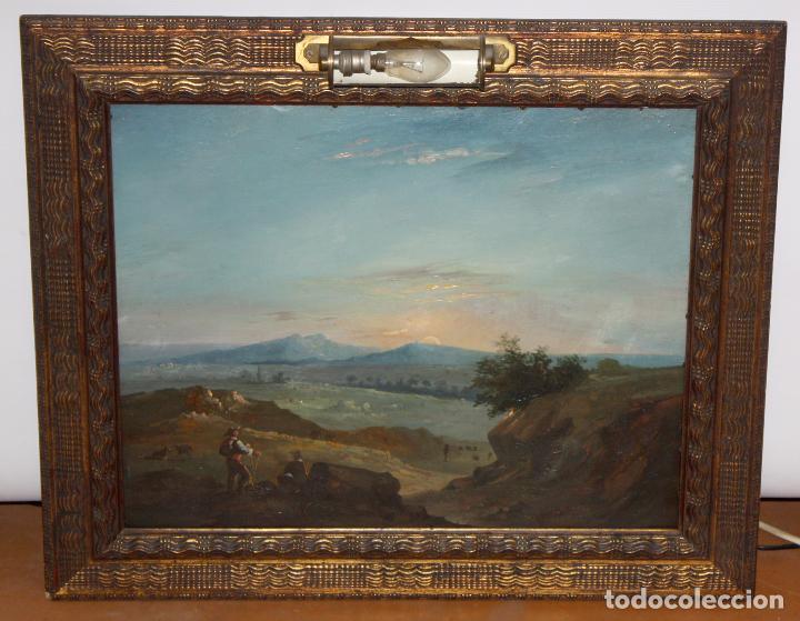 ESCUELA ITALIANA DEL SIGLO XIX. OLEO SOBRE PLANCHA. PAISAJE CON PERSONAJES (Arte - Pintura - Pintura al Óleo Moderna siglo XIX)