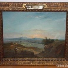 Arte: ESCUELA ITALIANA DEL SIGLO XIX. OLEO SOBRE PLANCHA. PAISAJE CON PERSONAJES. Lote 102576747