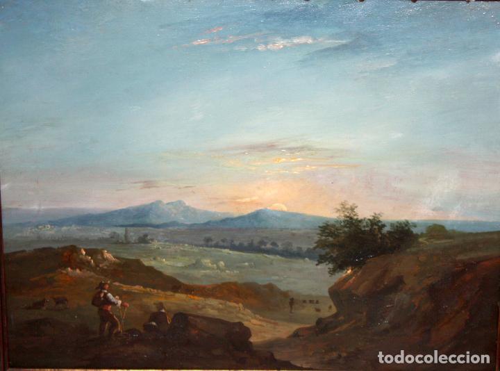 Arte: ESCUELA ITALIANA DEL SIGLO XIX. OLEO SOBRE PLANCHA. PAISAJE CON PERSONAJES - Foto 2 - 102576747