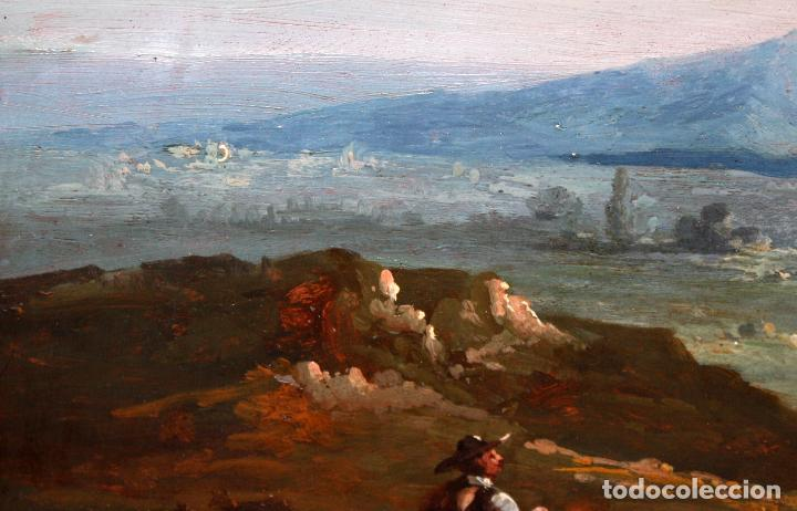 Arte: ESCUELA ITALIANA DEL SIGLO XIX. OLEO SOBRE PLANCHA. PAISAJE CON PERSONAJES - Foto 4 - 102576747