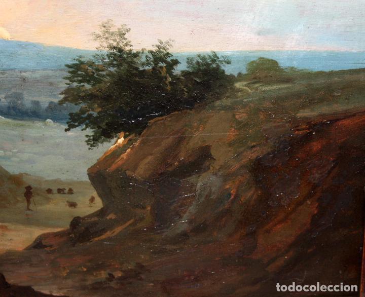 Arte: ESCUELA ITALIANA DEL SIGLO XIX. OLEO SOBRE PLANCHA. PAISAJE CON PERSONAJES - Foto 5 - 102576747