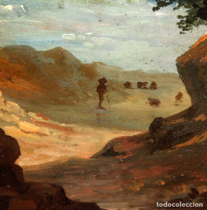 Arte: ESCUELA ITALIANA DEL SIGLO XIX. OLEO SOBRE PLANCHA. PAISAJE CON PERSONAJES - Foto 6 - 102576747