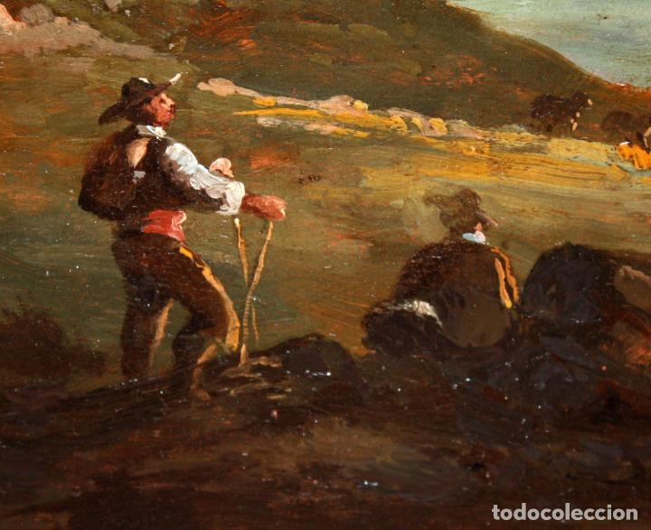 Arte: ESCUELA ITALIANA DEL SIGLO XIX. OLEO SOBRE PLANCHA. PAISAJE CON PERSONAJES - Foto 7 - 102576747
