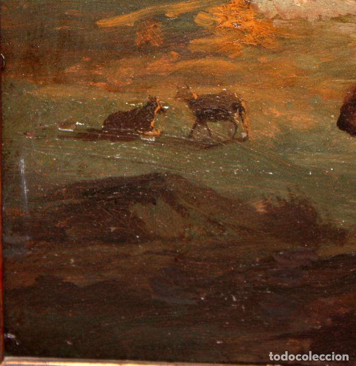 Arte: ESCUELA ITALIANA DEL SIGLO XIX. OLEO SOBRE PLANCHA. PAISAJE CON PERSONAJES - Foto 8 - 102576747
