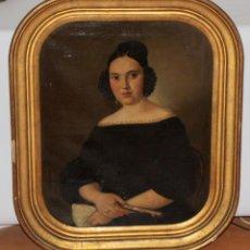 Arte: JOAQUIM PLANELLA I COUXELLO (BARCELONA, 1779 - 1875) OLEO SOBRE TELA. RETRATO DE UNA DAMA. Lote 102589791
