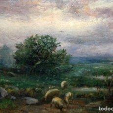 Arte: ENRIC GALWEY GARCÍA (BARCELONA, 1864 - 1931) OLEO SOBRE CARTON. PAISAJE CON REBAÑO. 26 X 35 CM.. Lote 102605427