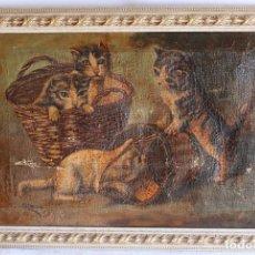 Arte: ANTIGUO Y ORIGINAL CUADRO AL OLEO CON GATITOS EN CESTO GATOS FIRMADO R.BELTRÀ LEER SIGLO XIX. Lote 102675479