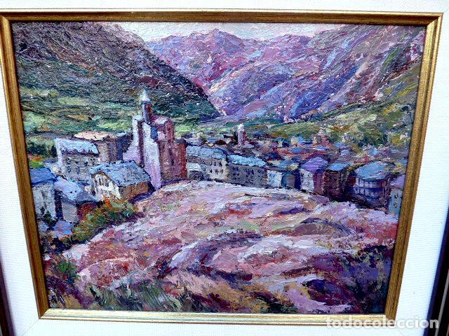 Arte: óleo sobre táblex.Escuela catalana.anónimo.buen trazo.pirineo - Foto 2 - 102743391