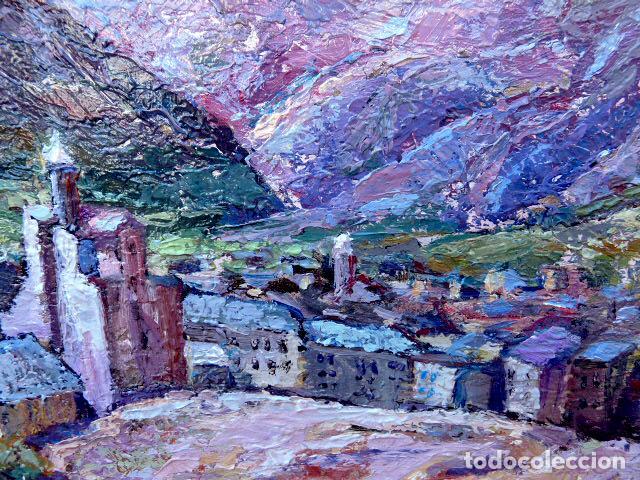 Arte: óleo sobre táblex.Escuela catalana.anónimo.buen trazo.pirineo - Foto 3 - 102743391