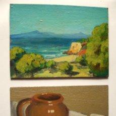Arte: J. RODÓN (JOAN RODÓN?). PAREJA DE ÓLEOS/CARTÓN 22 X 16 CM. . Lote 102793471