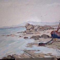 Arte: MARINA 55X33. BARCA VARADA EN LA ORILLA. ÓLEO SOBRE LIENZO.. Lote 102805319