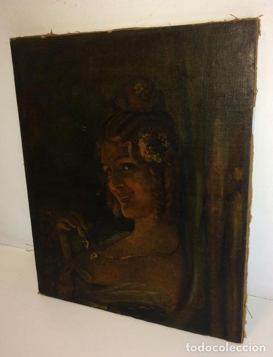 Arte: RETRATO DE JOVEN DAMA. ÓLEO SOBRE TELA. ESCUELA CATALANA. ESPAÑA. CIRCA 1850 - Foto 4 - 102930571