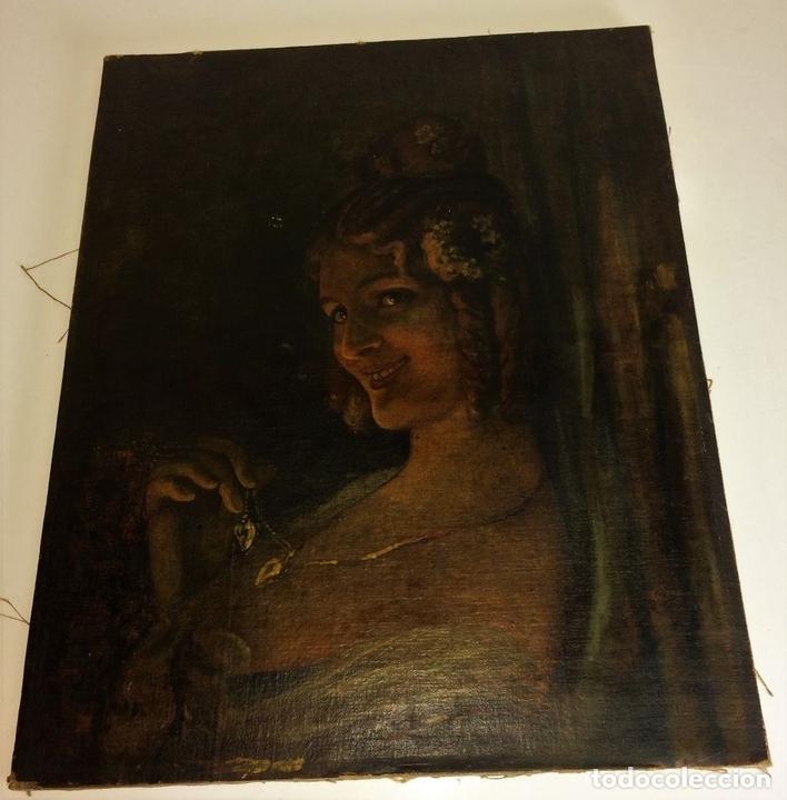 Arte: RETRATO DE JOVEN DAMA. ÓLEO SOBRE TELA. ESCUELA CATALANA. ESPAÑA. CIRCA 1850 - Foto 5 - 102930571