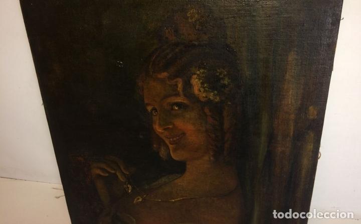 Arte: RETRATO DE JOVEN DAMA. ÓLEO SOBRE TELA. ESCUELA CATALANA. ESPAÑA. CIRCA 1850 - Foto 6 - 102930571