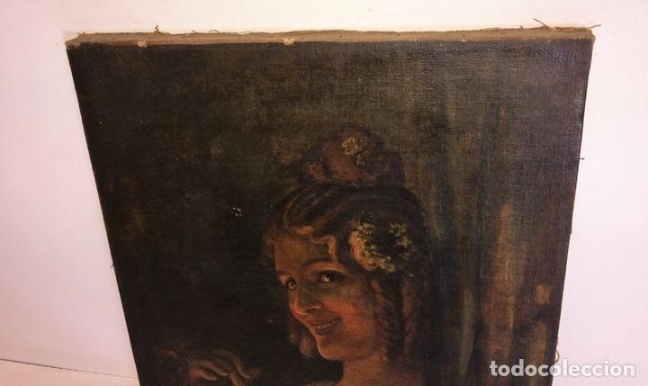 Arte: RETRATO DE JOVEN DAMA. ÓLEO SOBRE TELA. ESCUELA CATALANA. ESPAÑA. CIRCA 1850 - Foto 8 - 102930571