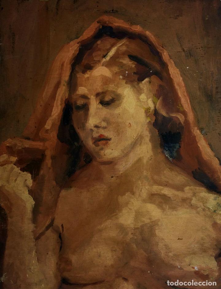 DESNUDO FEMENINO. PINTURA AL ÓLEO. SOBRE MADERA. ANÓNIMO. ESPAÑA. XIX-XX (Arte - Pintura - Pintura al Óleo Moderna siglo XIX)