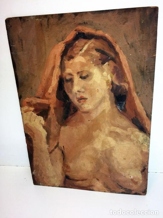 Arte: DESNUDO FEMENINO. PINTURA AL ÓLEO. SOBRE MADERA. ANÓNIMO. ESPAÑA. XIX-XX - Foto 2 - 102949127