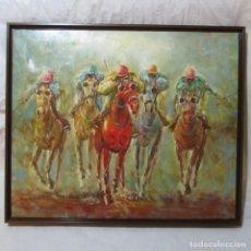 Arte: MAGNÍFICO ÓLEO DE CARRERAS DE CABALLOS HÍPICA FIRMADO. Lote 103046591
