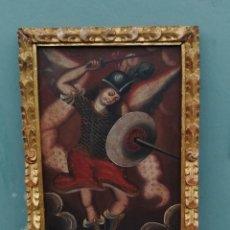 Arte: VIEJO ARCANGEL OLEO SOBRE TELA EN MARCO PAN DE BRONCE VIEJO, BUEN ESTADO.. Lote 103061615