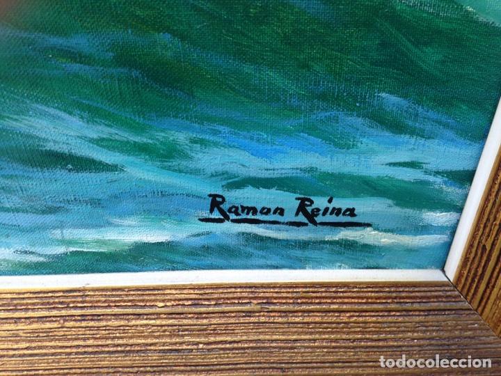 Arte: Ramón Reina, pintor malagueño, óleo sobre lienzo, marina - Foto 3 - 103109052