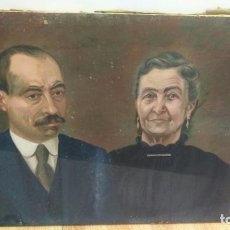 Arte: ANTIGUO ÓLEO SOBRE LIENZO, RETRATO HOMBRE & MUJER 1927 VENTURA. Lote 103141947