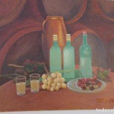 Arte: BODEGON- LA BODEGA -VINO Y ACEITUNAS. Lote 103184391