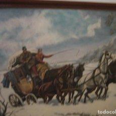 Arte: DILIGENCIA EN PAISAJE NEVADO. Lote 103189415