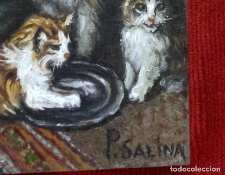Arte: FIRMADO P. SALINA. .- GATA CON CRIAS.- PEQUEÑA PINTURA AL OLEO SOBRE TABLA. ENMARCADA. - Foto 4 - 103243907