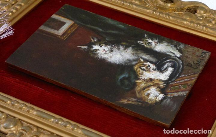 Arte: FIRMADO P. SALINA. .- GATA CON CRIAS.- PEQUEÑA PINTURA AL OLEO SOBRE TABLA. ENMARCADA. - Foto 15 - 103243907