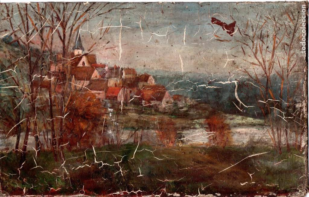PINTURA AL OLEO FRANCESA FINALES SIGLO XIX,NOMBRE EN PARTE POSTERIOR,AGUTTI-A O SIMILAR (Arte - Pintura - Pintura al Óleo Moderna siglo XIX)