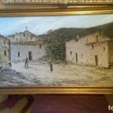 Arte: OLEO SOBRE LIENZO PAISAJE IMPRESIONISTA DE CALLE DE PUEBLO. GRAN FORMATO. Lote 103376987