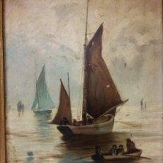 Arte: MARINA, ÓLEO SOBRE TABLA. FIRMADA M. FONSECA 1900.. Lote 103392215