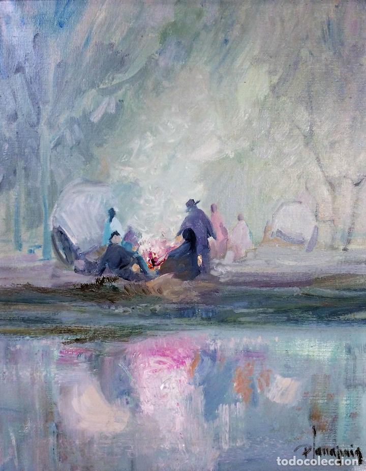 HOMBRES ALREDEDOR DEL FUEGO. ÓLEO SOBRE LIENZO. FIRMADO PLANA PUIG. ESPAÑA. CIRCA 1950 (Arte - Pintura - Pintura al Óleo Contemporánea )
