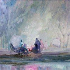 Kunst - HOMBRES ALREDEDOR DEL FUEGO. ÓLEO SOBRE LIENZO. FIRMADO PLANA PUIG. ESPAÑA. CIRCA 1950 - 103407535