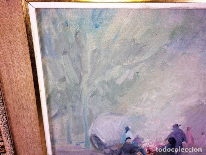 Arte: HOMBRES ALREDEDOR DEL FUEGO. ÓLEO SOBRE LIENZO. FIRMADO PLANA PUIG. ESPAÑA. CIRCA 1950 - Foto 3 - 103407535