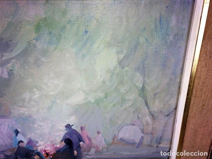 Arte: HOMBRES ALREDEDOR DEL FUEGO. ÓLEO SOBRE LIENZO. FIRMADO PLANA PUIG. ESPAÑA. CIRCA 1950 - Foto 4 - 103407535