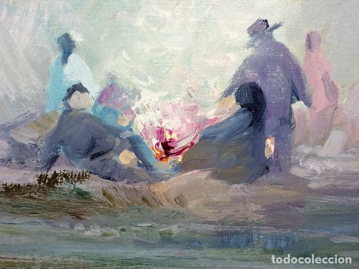 Arte: HOMBRES ALREDEDOR DEL FUEGO. ÓLEO SOBRE LIENZO. FIRMADO PLANA PUIG. ESPAÑA. CIRCA 1950 - Foto 5 - 103407535
