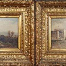 Arte: PAREJA DE PAISAJES COSTUMBRISTAS ARABES. ÓLEO SOBRE LIENZO. EMILE GODCHAUX. 1887.. Lote 80460509