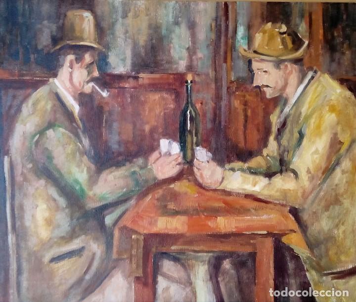 LOS JUGADORES DE CARTAS DE CEZANNE. COPIA AL ÓLEO (Arte - Pintura Directa del Autor)
