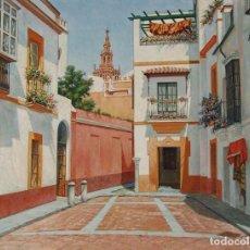 Arte: SEVILLA: PLAZA DE LAS CADENAS, BARRIO DE SANTA CRUZ. FIRMADO EN 1973. Lote 103573651