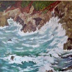 Arte: MAR REVUELTO OLEO TABLILLA 60*40 CM. Lote 103592623