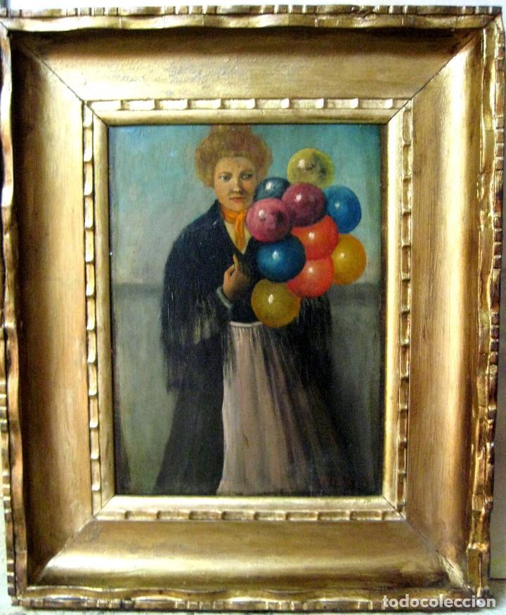 ESCUELA FRANCESA FINES DEL SIGLO XIX. LA VENDEDORA DE GLOBOS. ÓLEO/TABLA FIRMADA M. DUBOIS (Arte - Pintura - Pintura al Óleo Moderna siglo XIX)